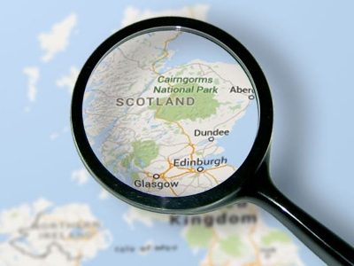 Scotland map magnified