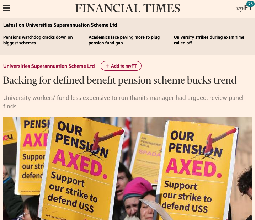 Backing for defined benefit pension scheme bucks trend: Financial Times - 27 Sep 2018
